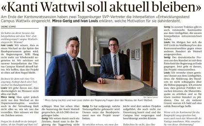 «Kanti Wattwil soll aktuell bleiben» (Mittwoch, 27.04.2016)