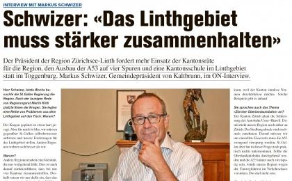 Schwizer: «Das Linthgebiet muss stärker zusammenhalten» (Donnerstag, 22.09.2016)