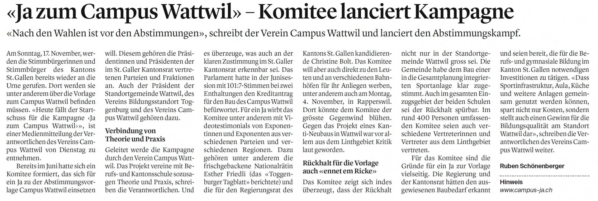 «Ja zum Campus Wattwil» – Komitee lanciert Kampagne (Mittwoch, 23.10.2019)