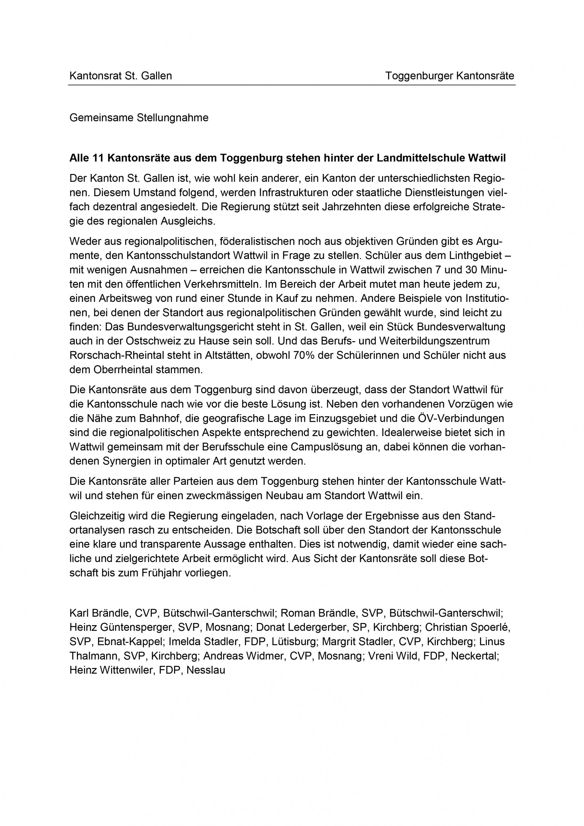 Gemeinsame Stellungnahme: Kantonsräte stehen hinter Standort Wattwil (Dienstag, 25.02.2014)