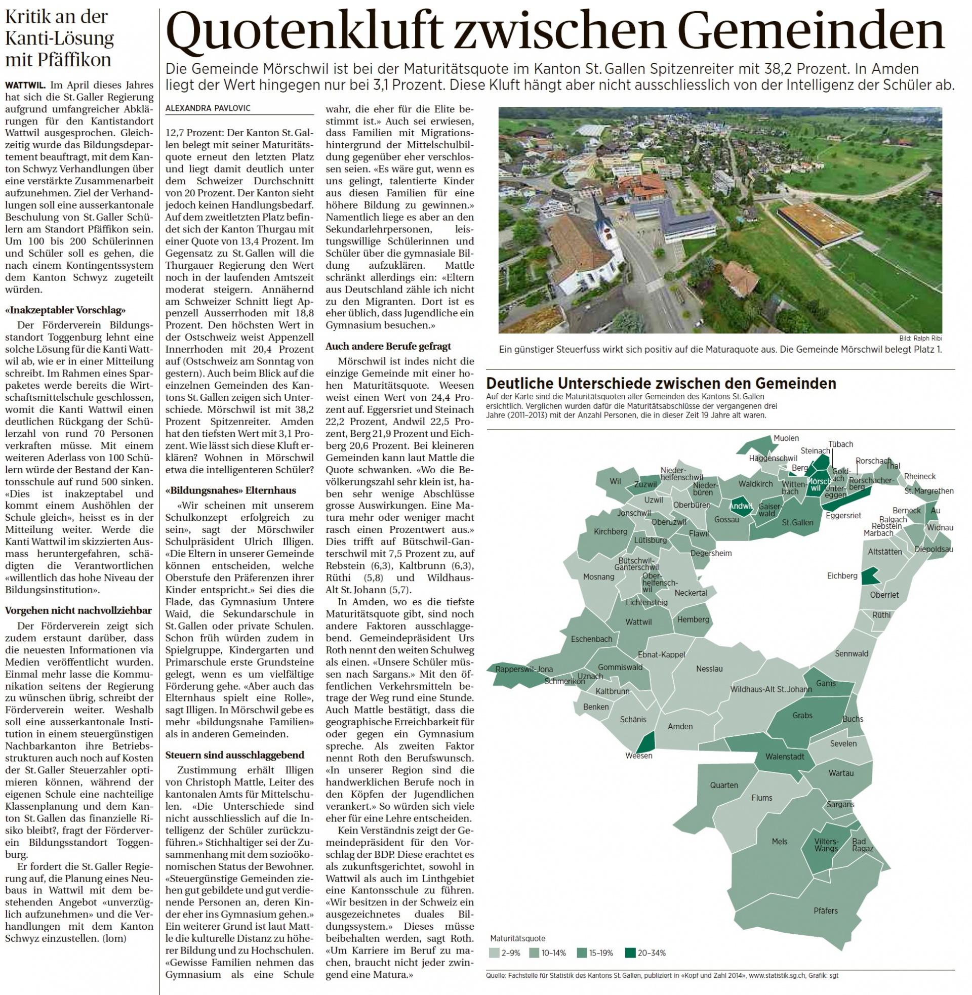 Kritik an der Kanti-Lösung mit Pfäffikon (Montag, 06.10.2014)