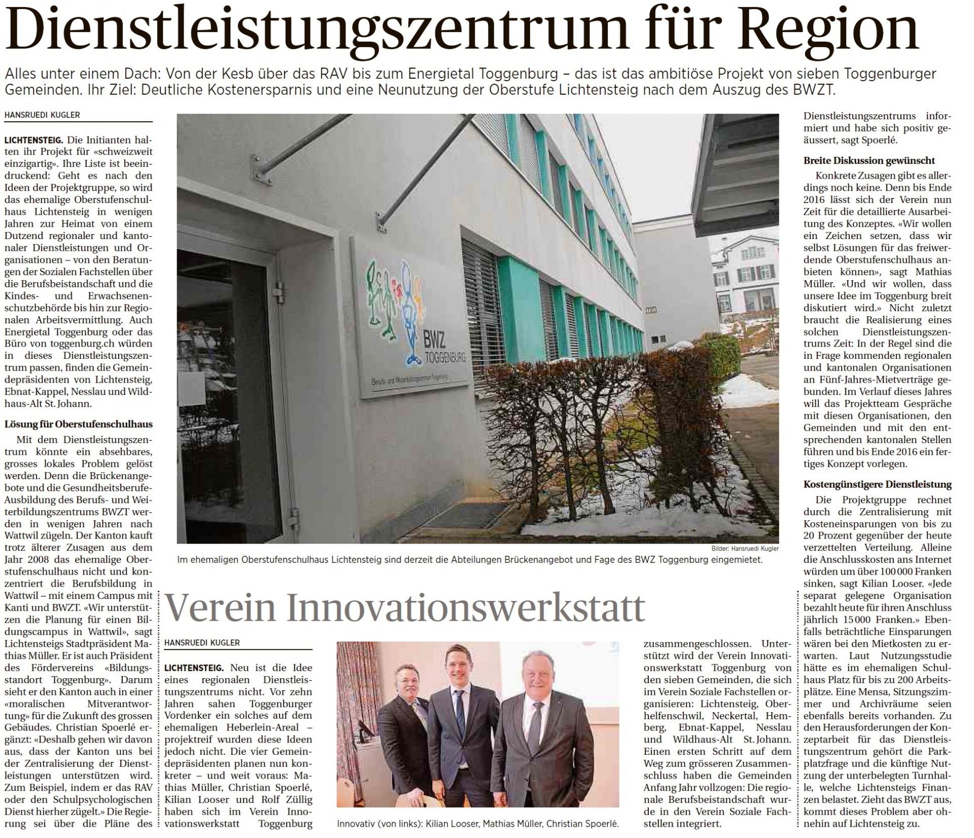 Dienstleistungszentrum für Region (Donnerstag, 19.02.2015)
