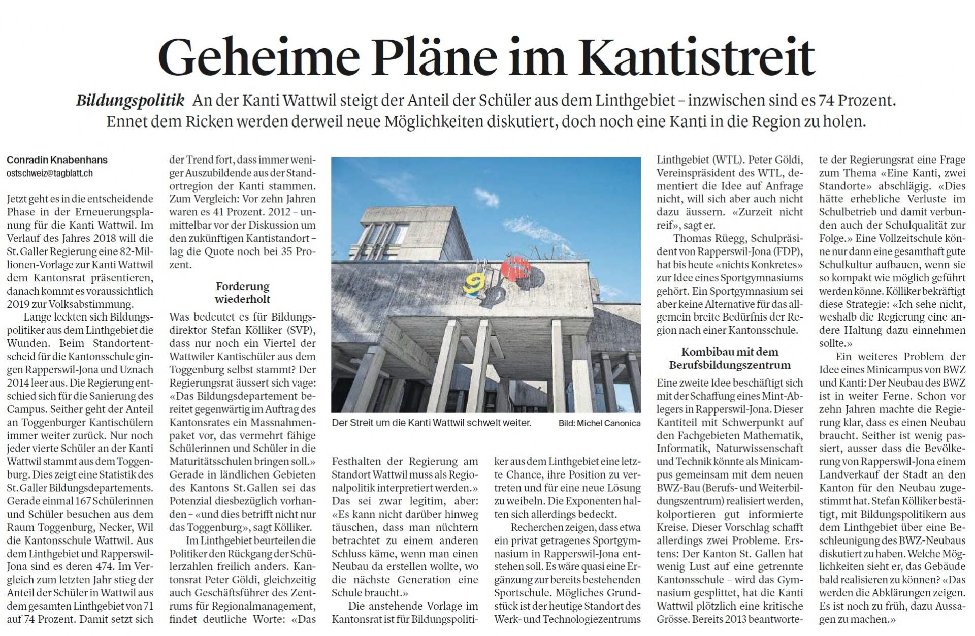 Geheime Pläne im Kantistreit (Montag, 30.10.2017)