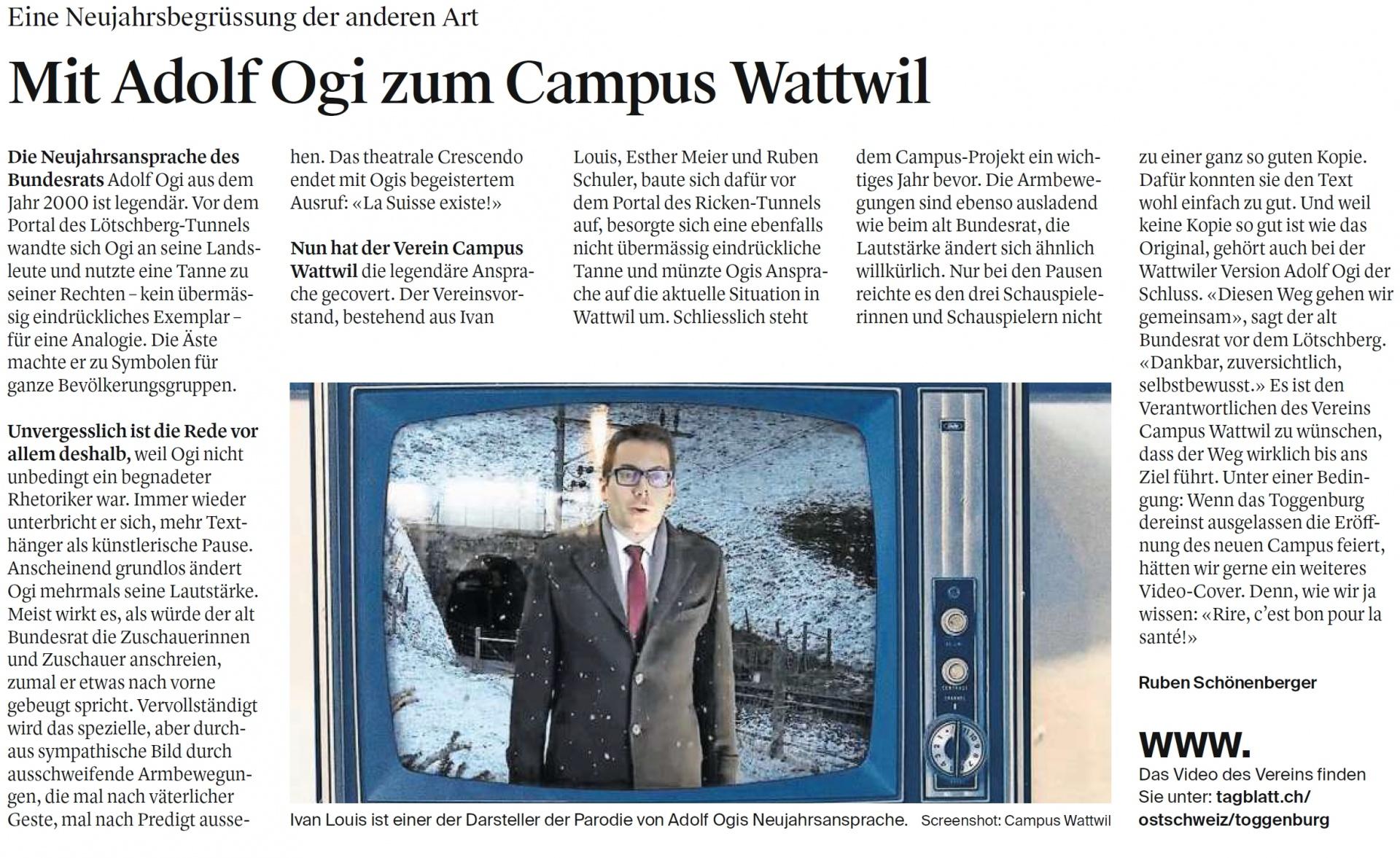 Mit Adolf Ogi zum Campus Wattwil (Freitag, 04.01.2019)