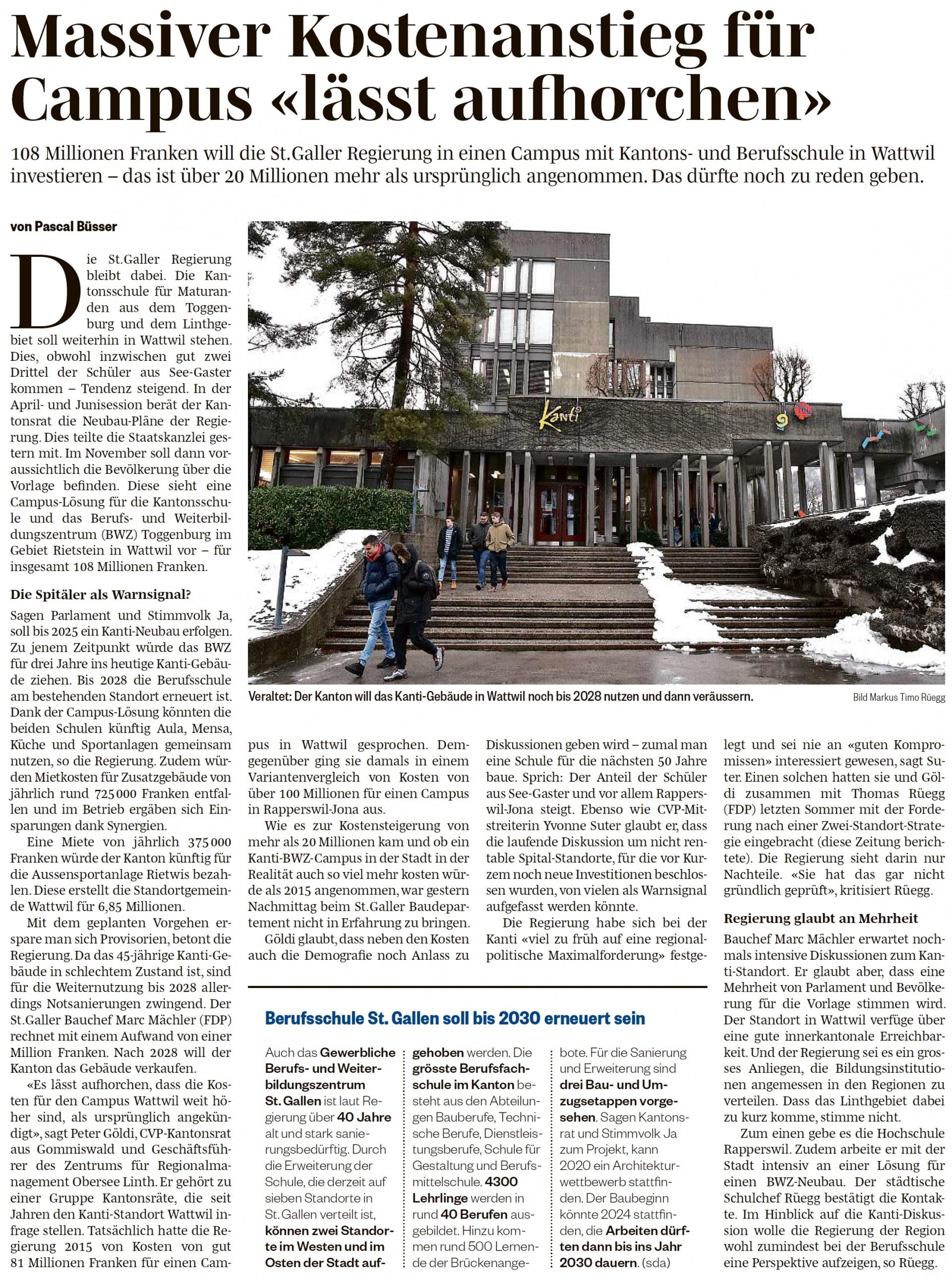 Massiver Kostenanstieg für Campus «lässt aufhorchen» (Mittwoch, 09.01.2019)