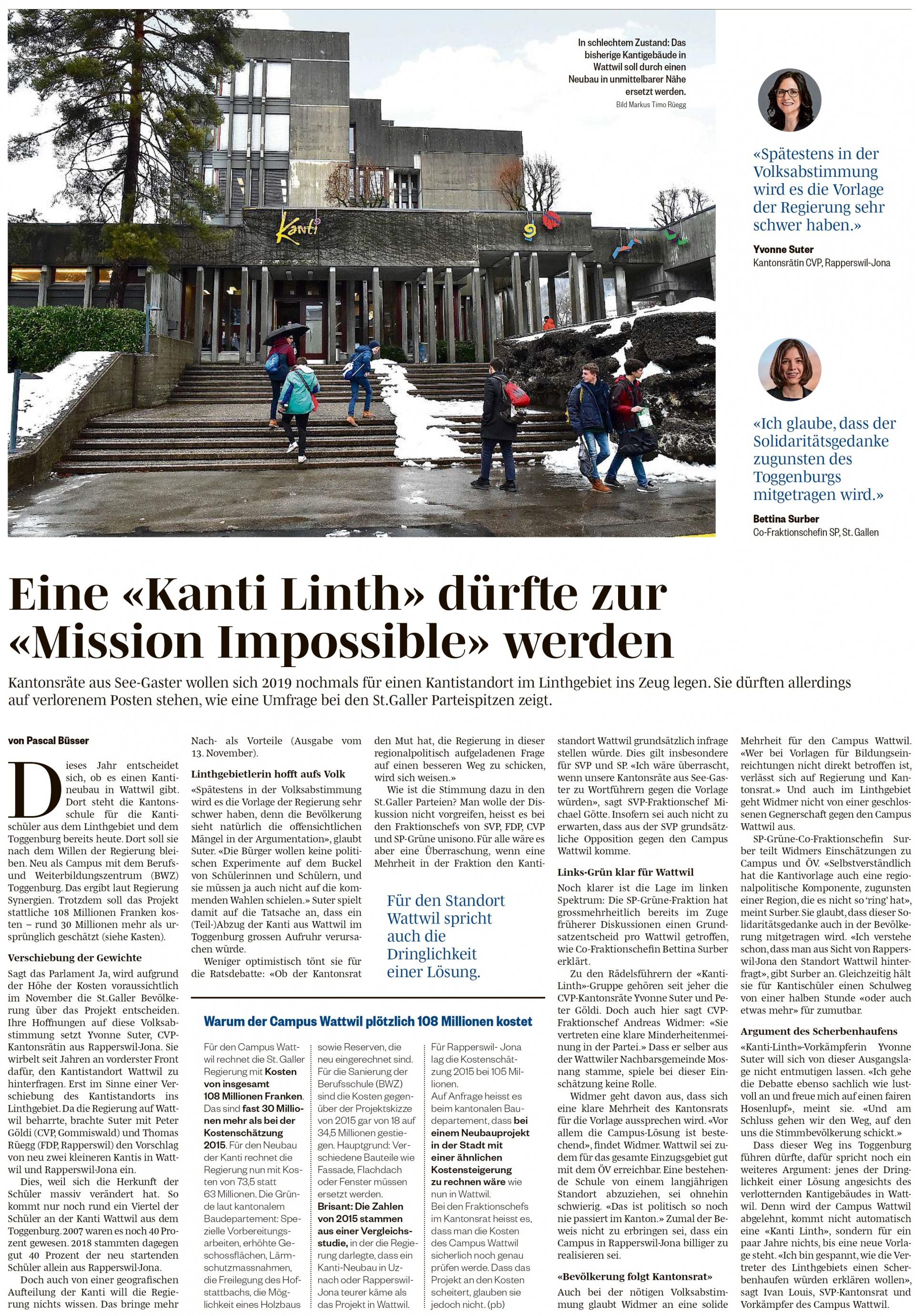 Eine «Kanti Linth» dürfte zur «Mission Impossible» werden (Mittwoch, 13.02.2019)