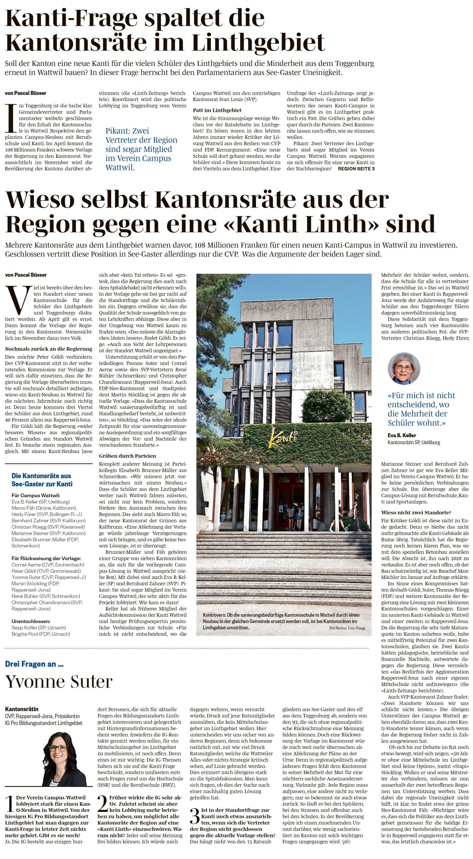Wieso selbst Kantonsräte aus der Region gegen eine «Kanti Linth» sind (Dienstag, 19.03.2019)