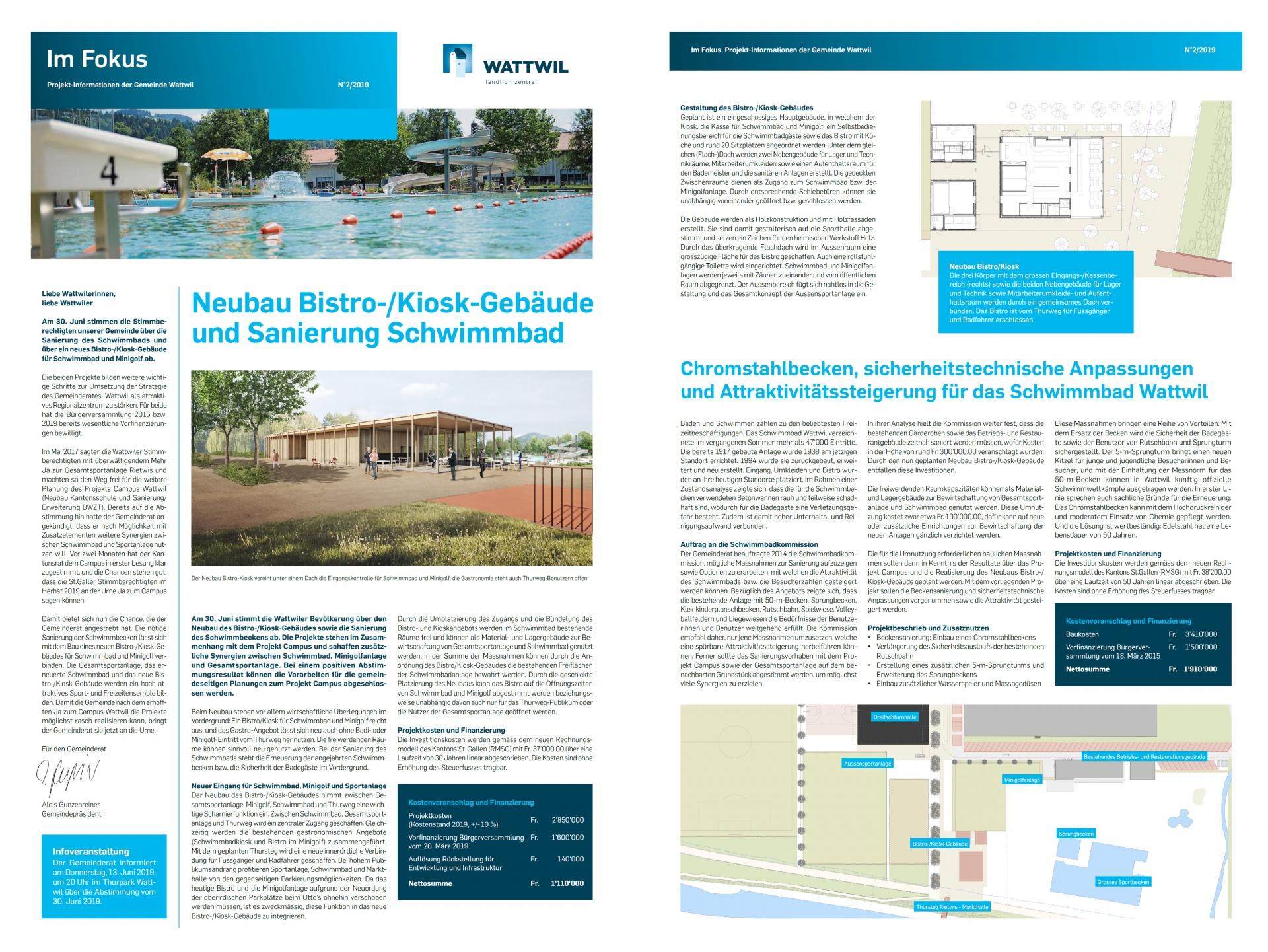 Projektinformationen der Gemeinde Wattwil: Sanierung Schwimmbad (Donnerstag, 06.06.2019)