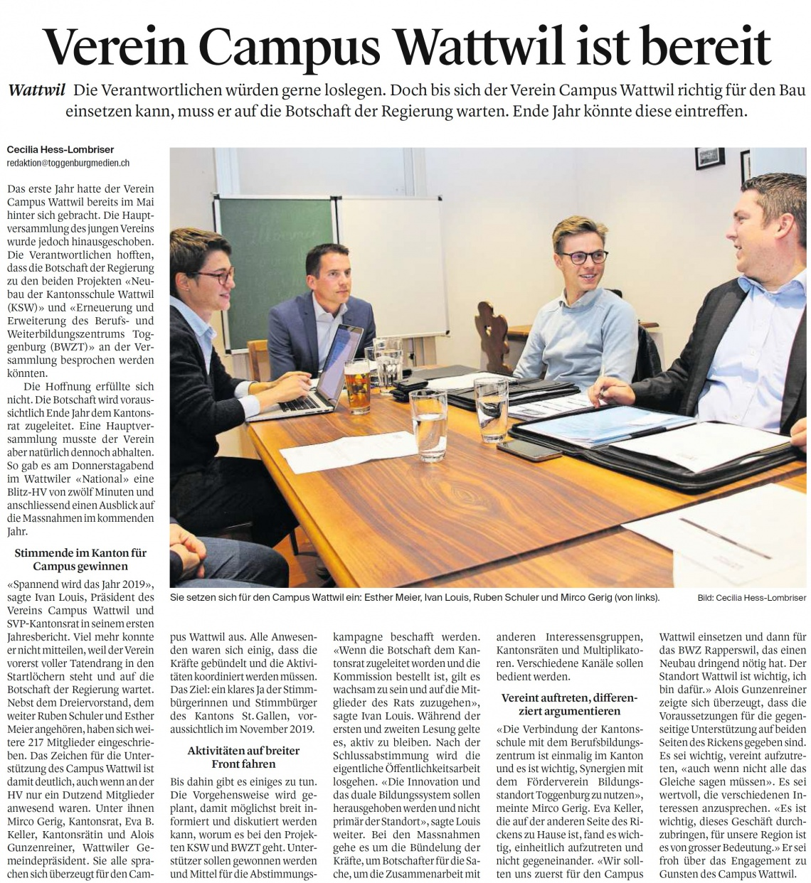Verein Campus Wattwil ist bereit (Samstag, 06.10.2018)