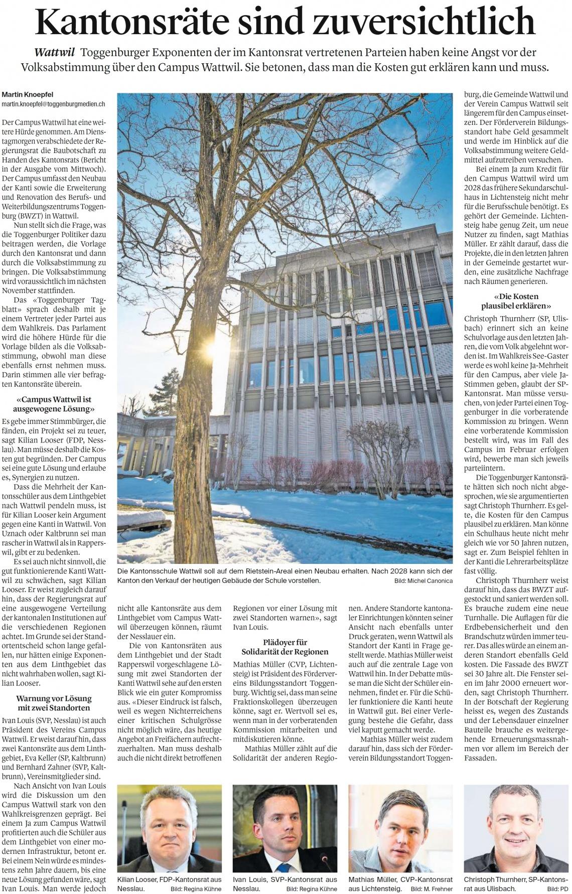 Kantonsräte sind zuversichtlich (Samstag, 12.01.2019)