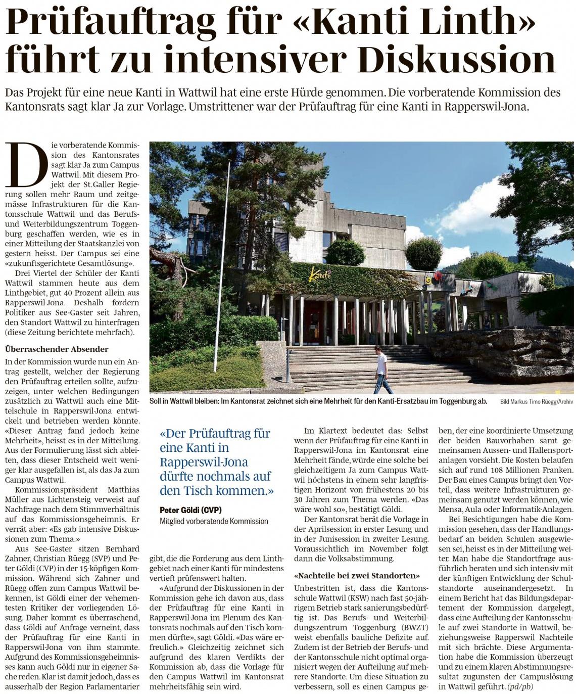 Prüfauftrag für «Kanti Linth» führt zu intensiver Diskussion (Freitag, 22.03.2019)