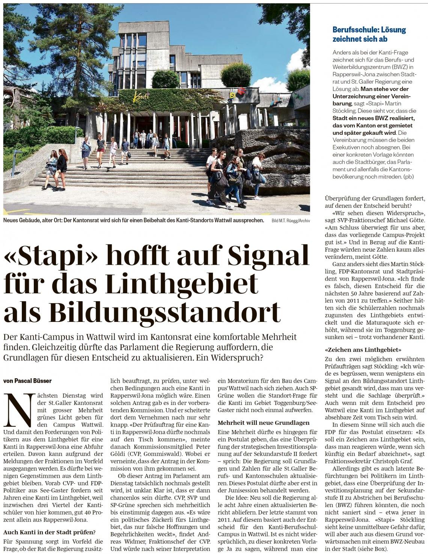 «Stapi» hofft auf Signal für das Linthgebiet als Bildungsstandort (Mittwoch, 17.04.2019)