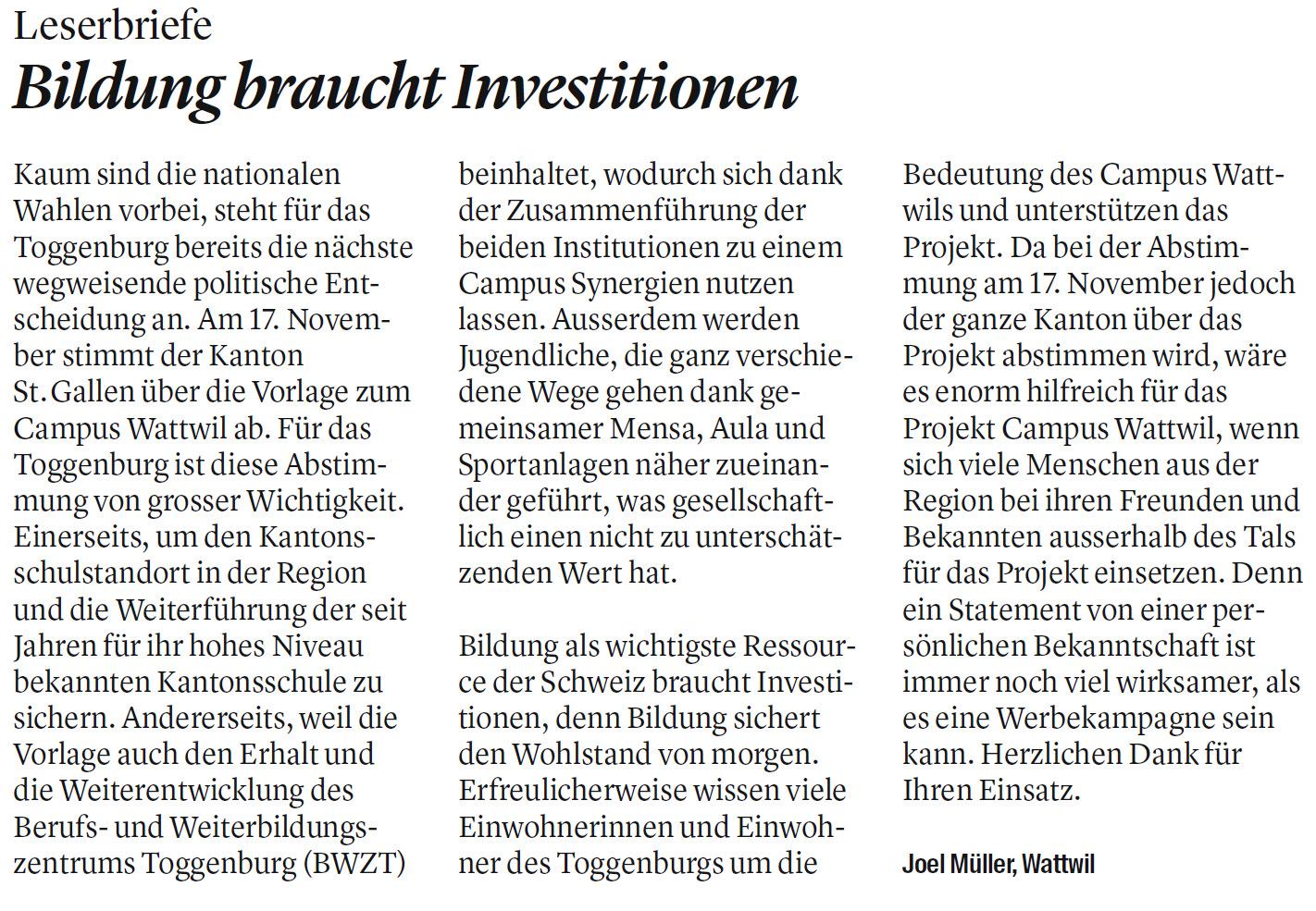 Leserbrief: Bildung braucht Investitionen (Donnerstag, 31.10.2019)