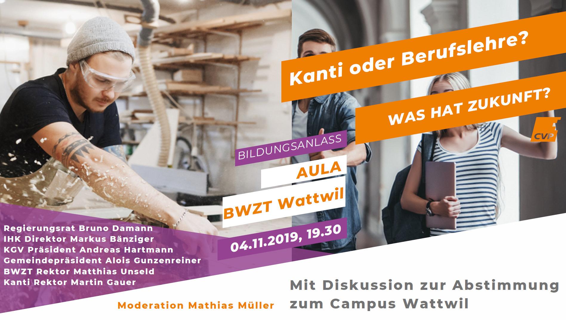 Anlass CVP Toggenburg: Kanti oder Berufslehre - was hat Zukunft? (Montag, 04.11.2019)