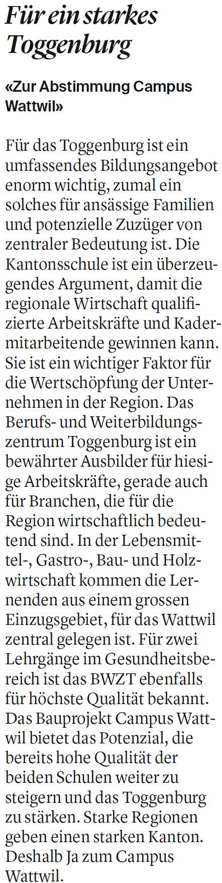 Leserbrief: Für ein starkes Toggenburg (Dienstag, 05.11.2019)