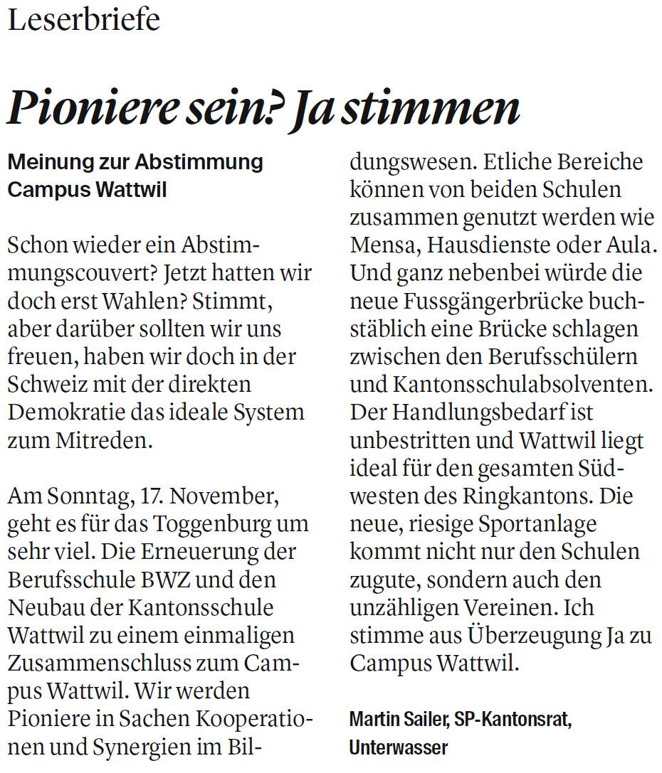 Leserbrief: Pioniere sein? Ja stimmen (Freitag, 08.11.2019)