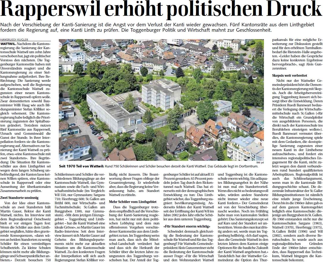 Rapperswil erhöht politischen Druck (Mittwoch, 12.06.2013)