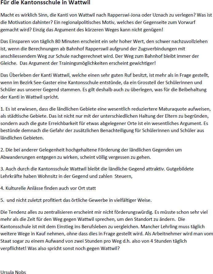 Kantonsschule Wattwil muss überleben (Donnerstag, 09.01.2014)