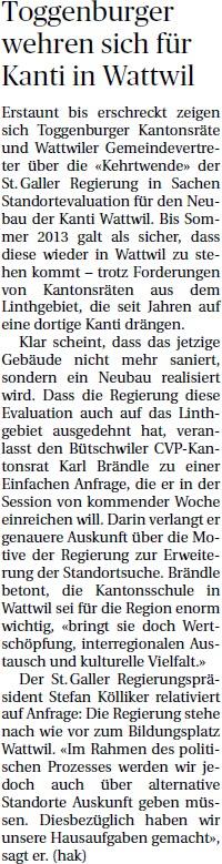 Toggenburger wehren sich für Kanti Wattwil (Mittwoch, 19.02.2014)