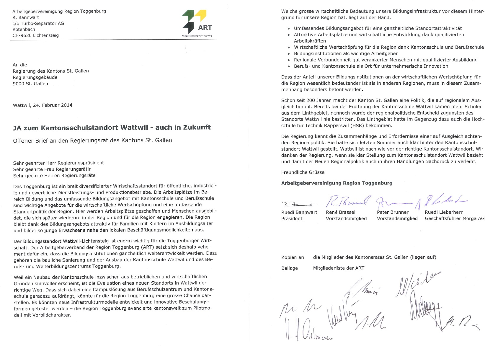 Offener Brief: JA zum Kantonsschulstandort Toggenburg - auch in Zukunft (Dienstag, 25.02.2014)