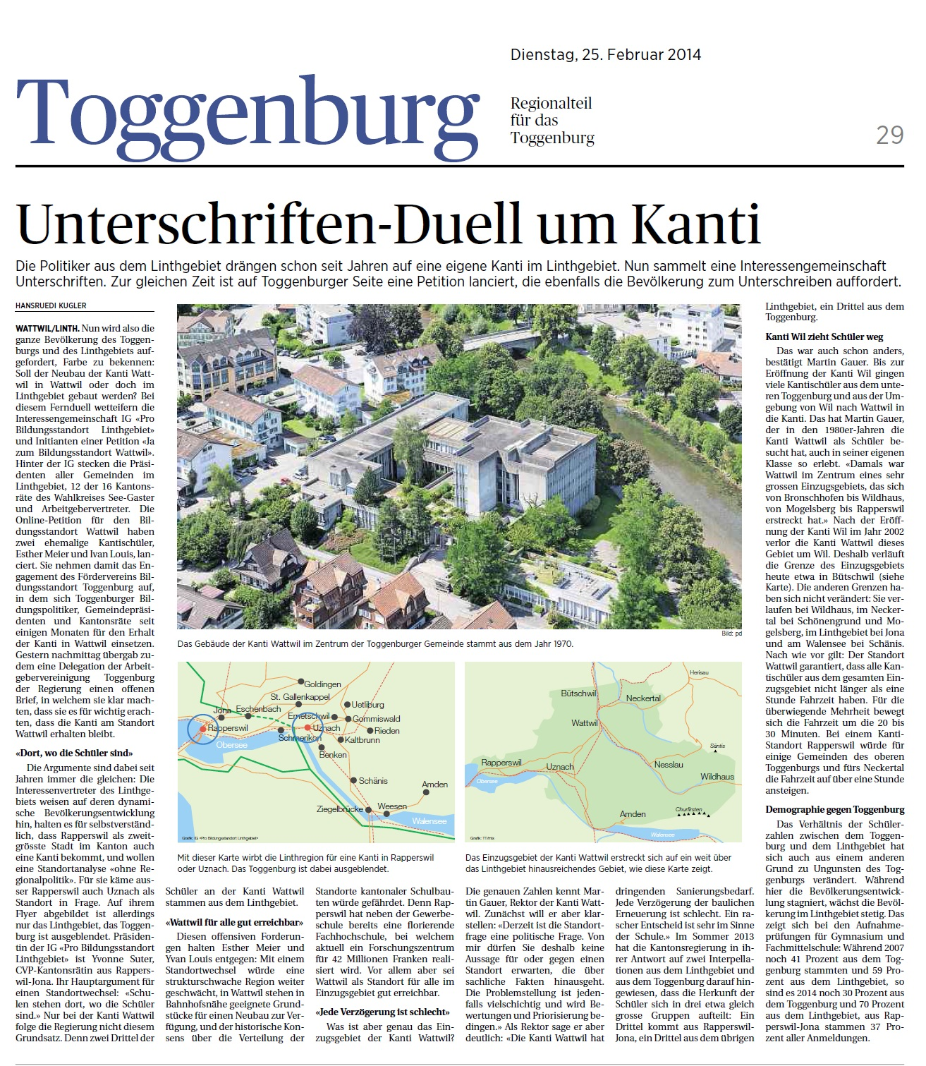 Unterschriften-Duell um Kanti (Dienstag, 25.02.2014)