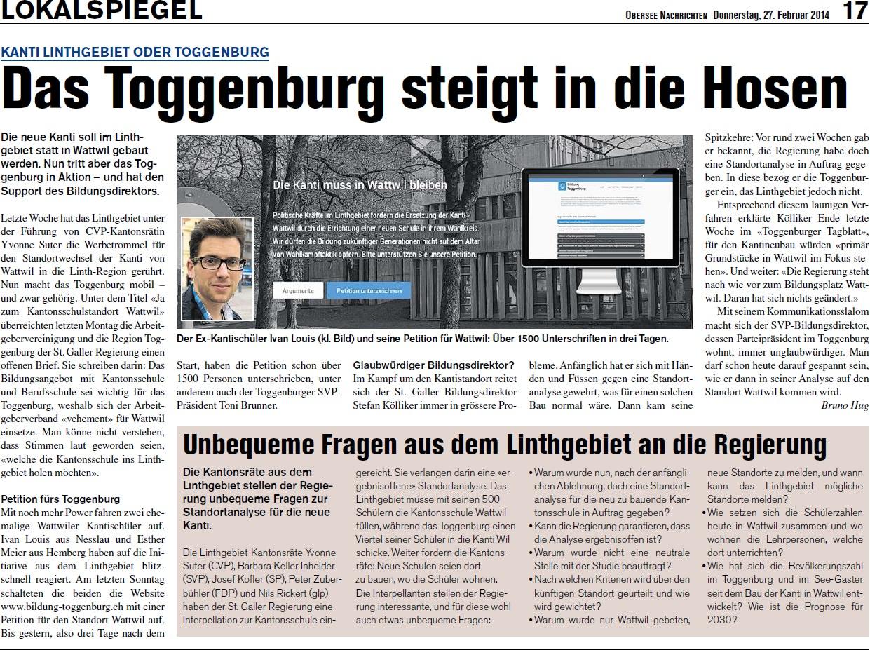 Kanti Linthgebiet oder Toggenburg: Das Toggenburg steigt in die Hosen (Donnerstag, 27.02.2014)