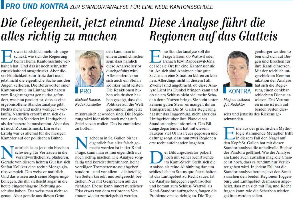 Pro und Kontra zur Standortanalyse für eine neue Kantonsschule (Samstag, 01.03.2014)