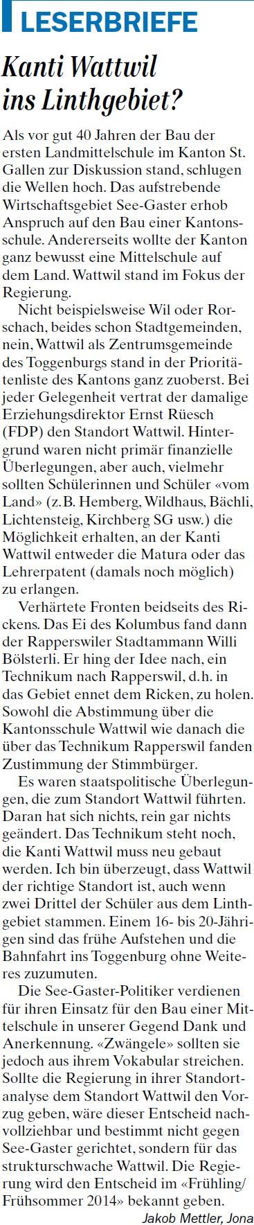 Kanti Wattwil ins Linthgebiet? (Dienstag, 04.03.2014)