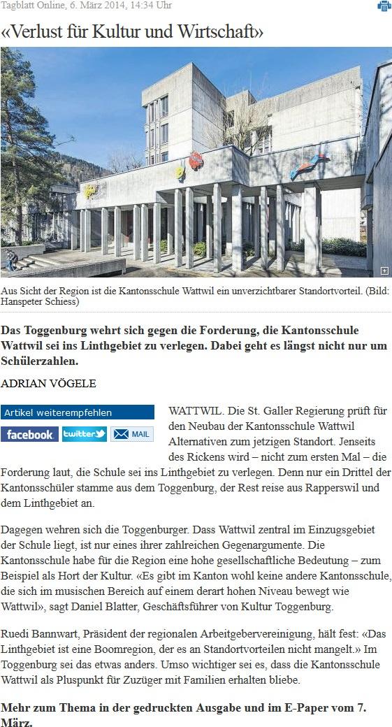 «Verlust für Kultur und Wirtschaft» (Donnerstag, 06.03.2014)