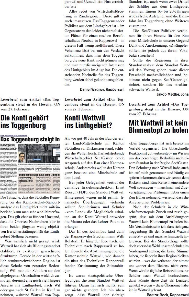 Leserbriefe zum Artikel «Das Toggenburg steigt in die Hosen» (Donnerstag, 06.03.2014)