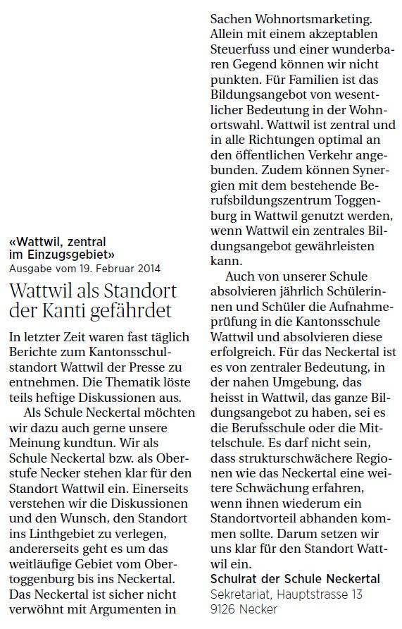 Wattwil als Standort gefährdet (Mittwoch, 12.03.2014)