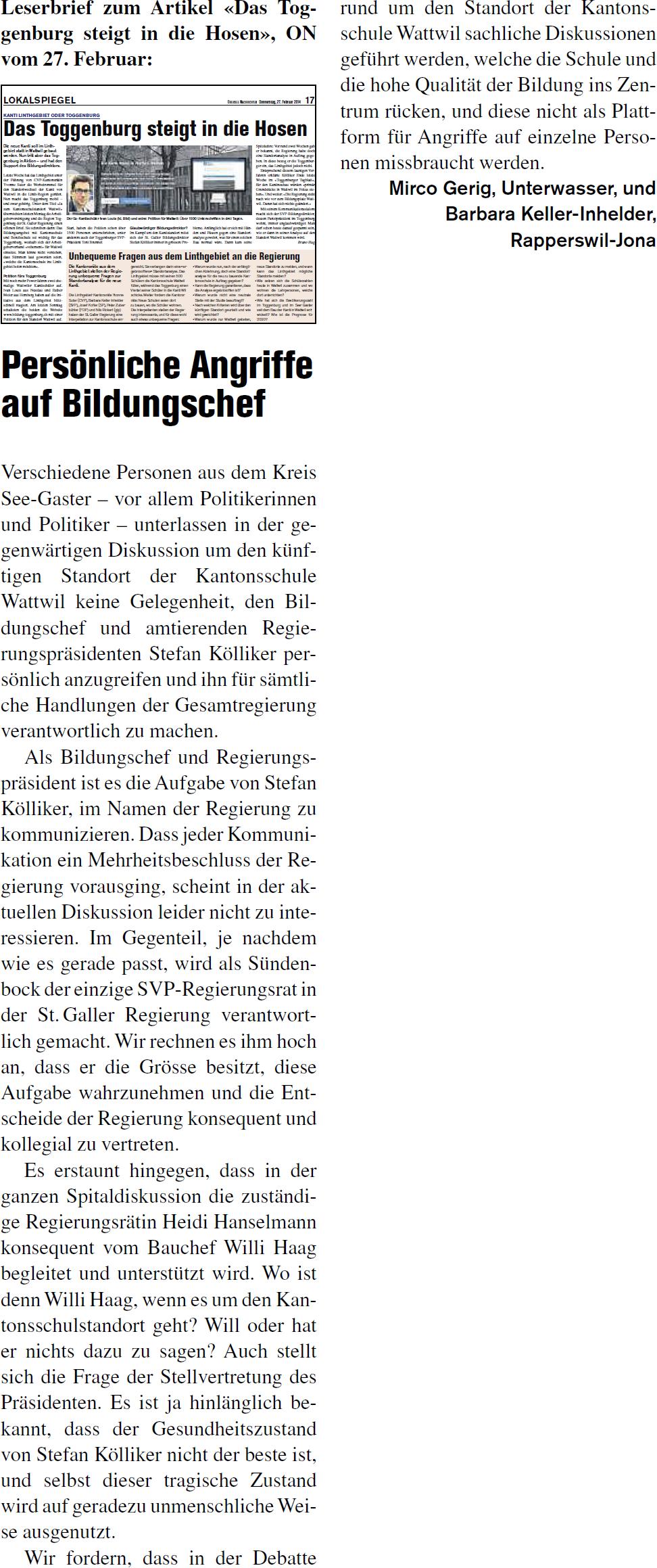 Persönliche Angriffe auf Bildungschef (Donnerstag, 13.03.2014)