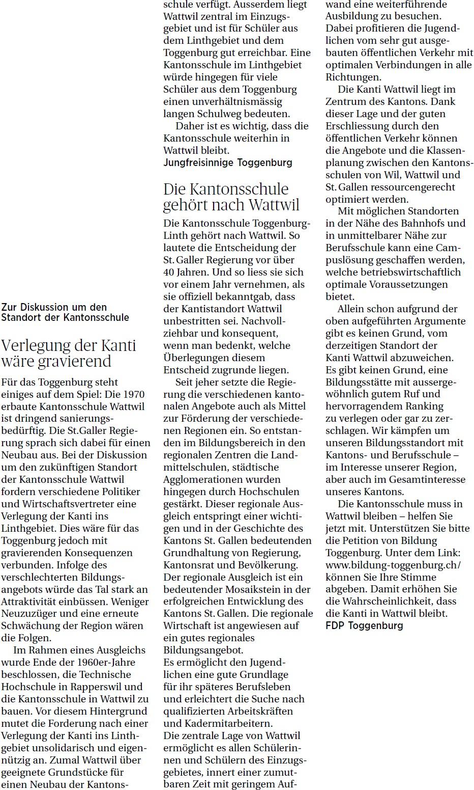 Verlegung der Kanti wäre gravierend (Freitag, 14.03.2014)