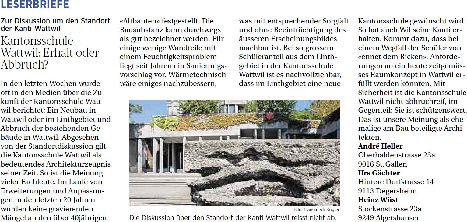 Kantonsschule Wattwil: Erhalt oder Abbruch? (Montag, 17.03.2014)