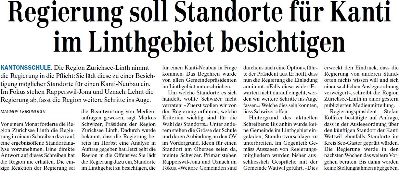 Regierung soll Standorte für Kanti im Linthgebiet besichtigen (Donnerstag, 20.03.2014)