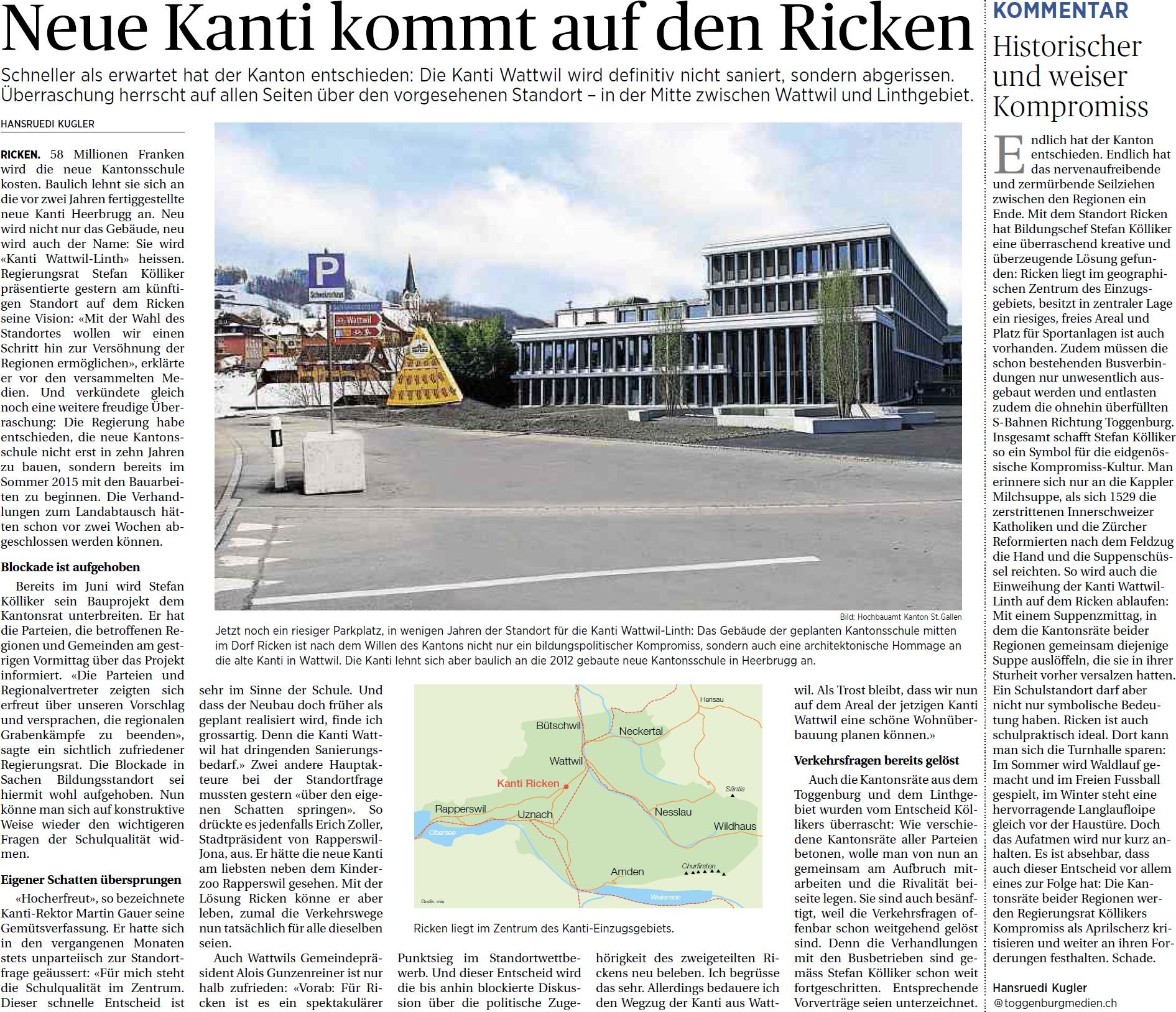 Neue Kanti kommt auf den Ricken (Dienstag, 01.04.2014)