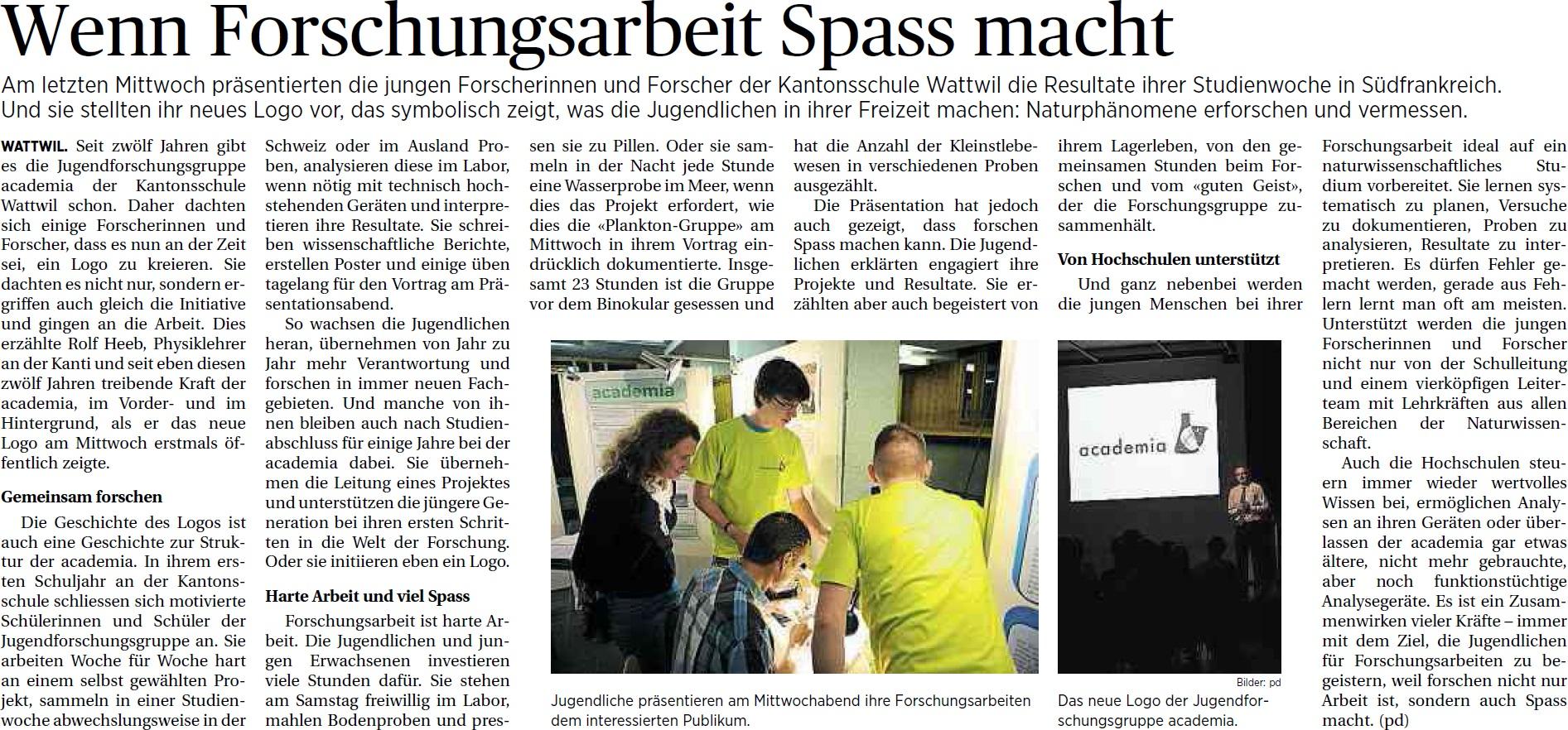 Wenn Forschungsarbeit Spass macht (Samstag, 05.04.2014)