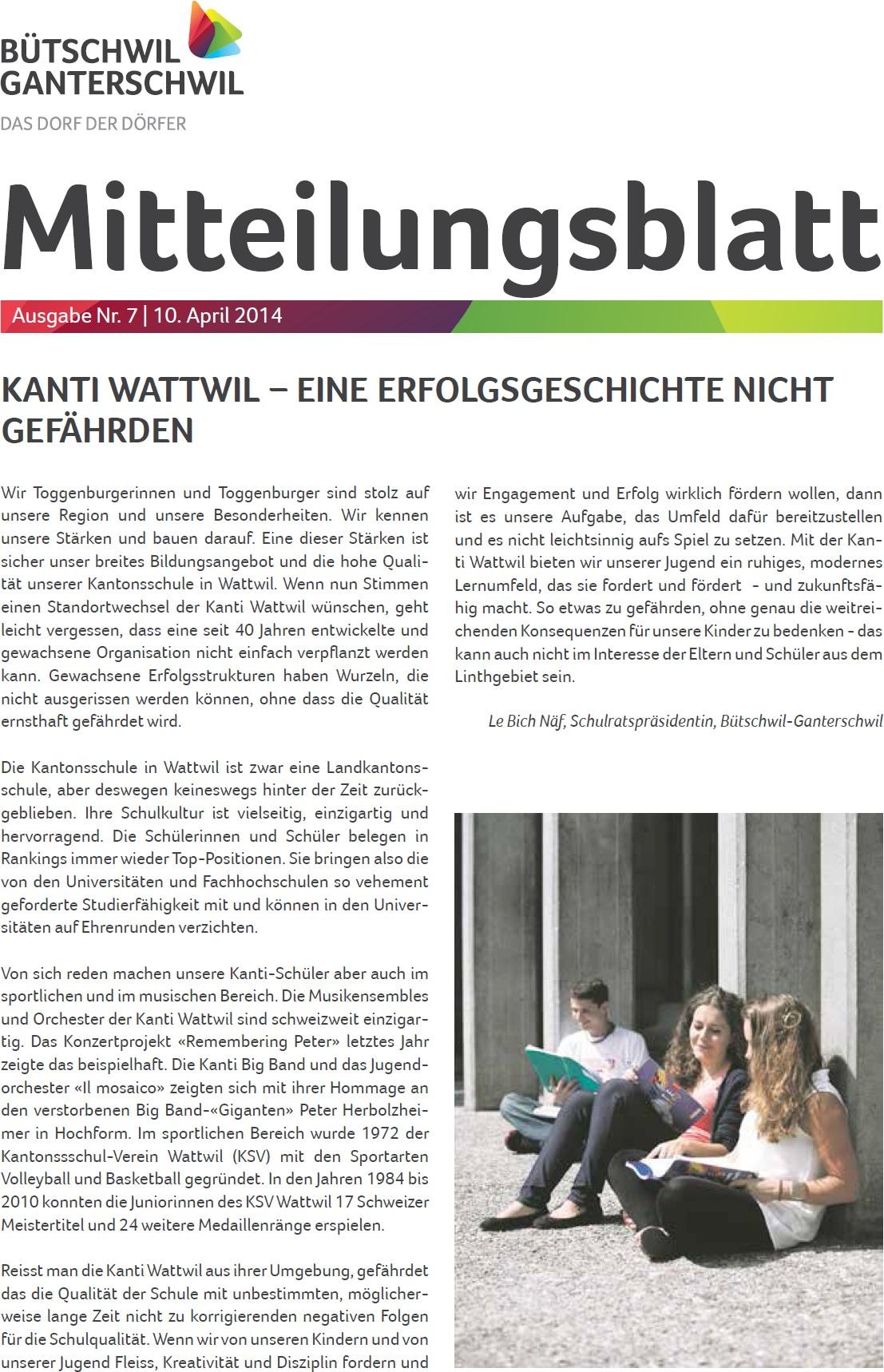 Kanti Wattwil - eine Erfolgsgeschichte nicht gefährden (Donnerstag, 10.04.2014)