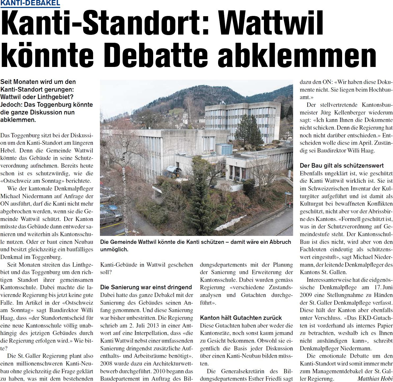 Kanti-Standort: Wattwil könnte Debatte abklemmen (Donnerstag, 10.04.2014)