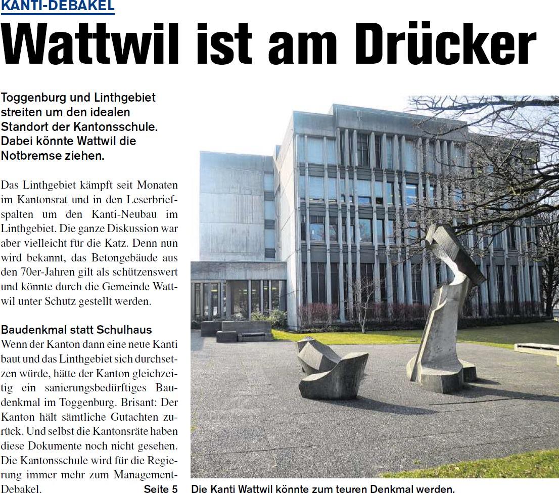 Kanti-Debakel: Wattwil ist am Drücker (Donnerstag, 10.04.2014)