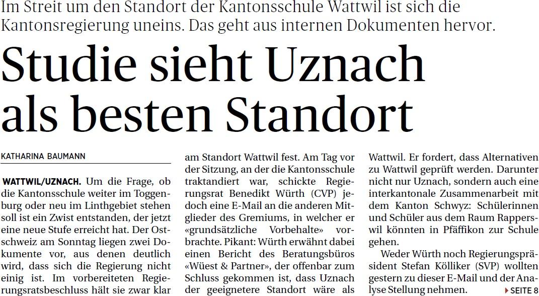 Studie sieht Uznach als besten Standort (Sonntag, 27.04.2014)