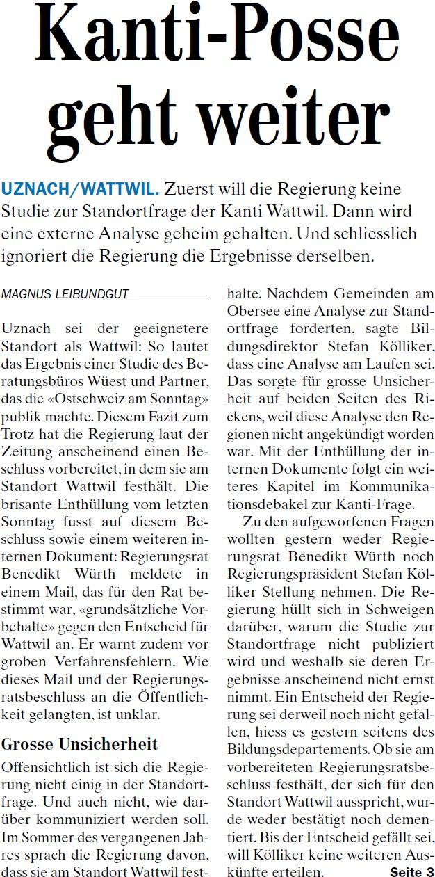 Kanti-Posse geht weiter (Dienstag, 29.04.2014)