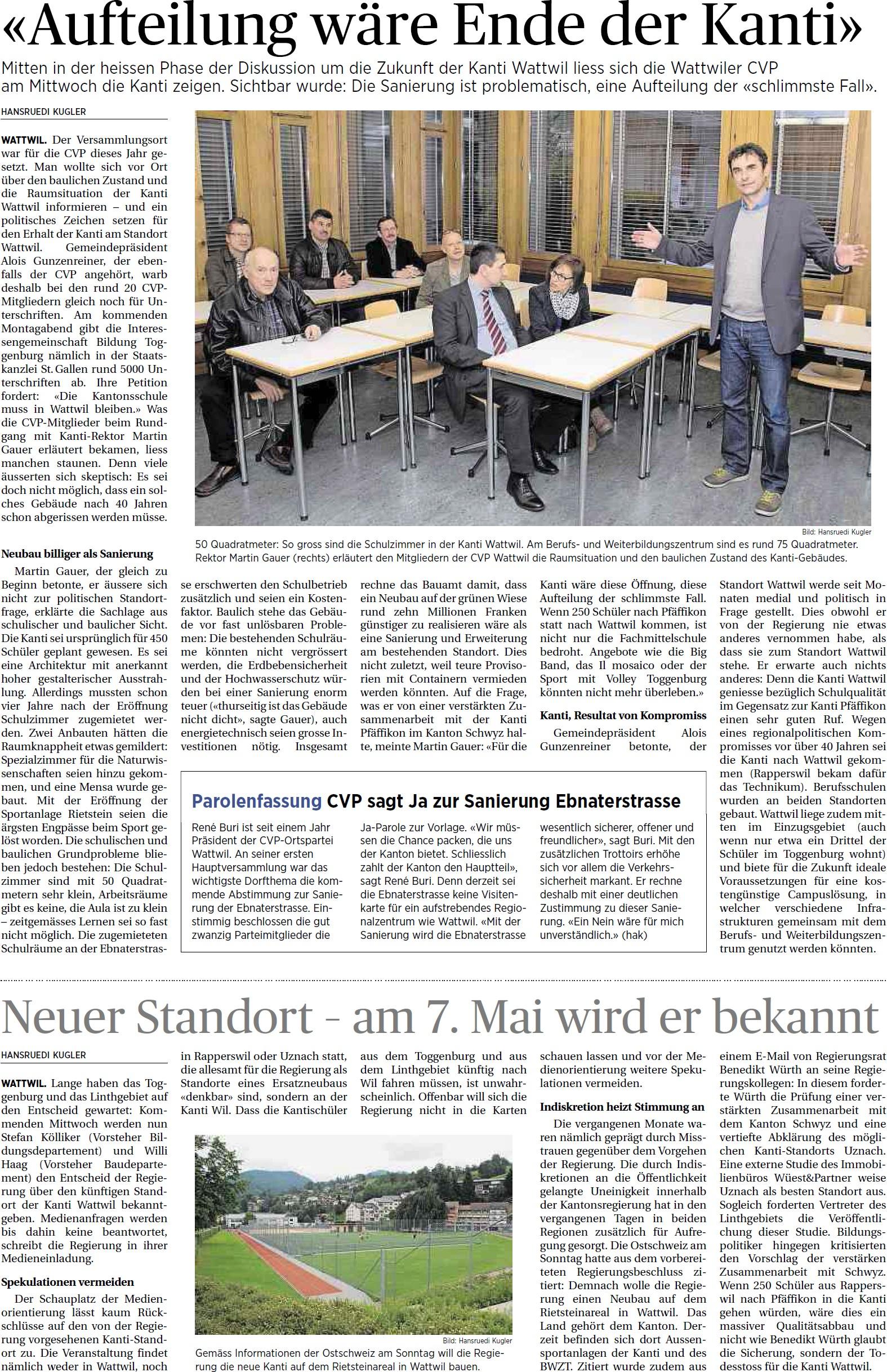 «Aufteilung wäre Ende der Kanti» (Freitag, 02.05.2014)