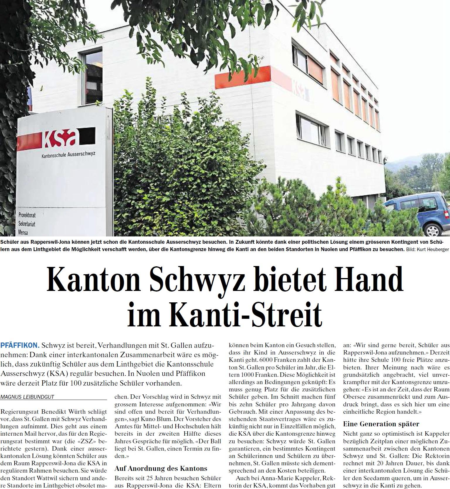 Kanton Schwyz bietet Hand im Kanti-Streit (Mittwoch, 30.04.2014)