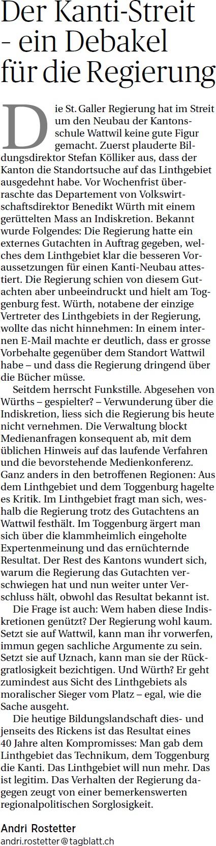Der Kanti-Streit - ein Debakel für die Regierung (Sonntag, 04.05.2014)