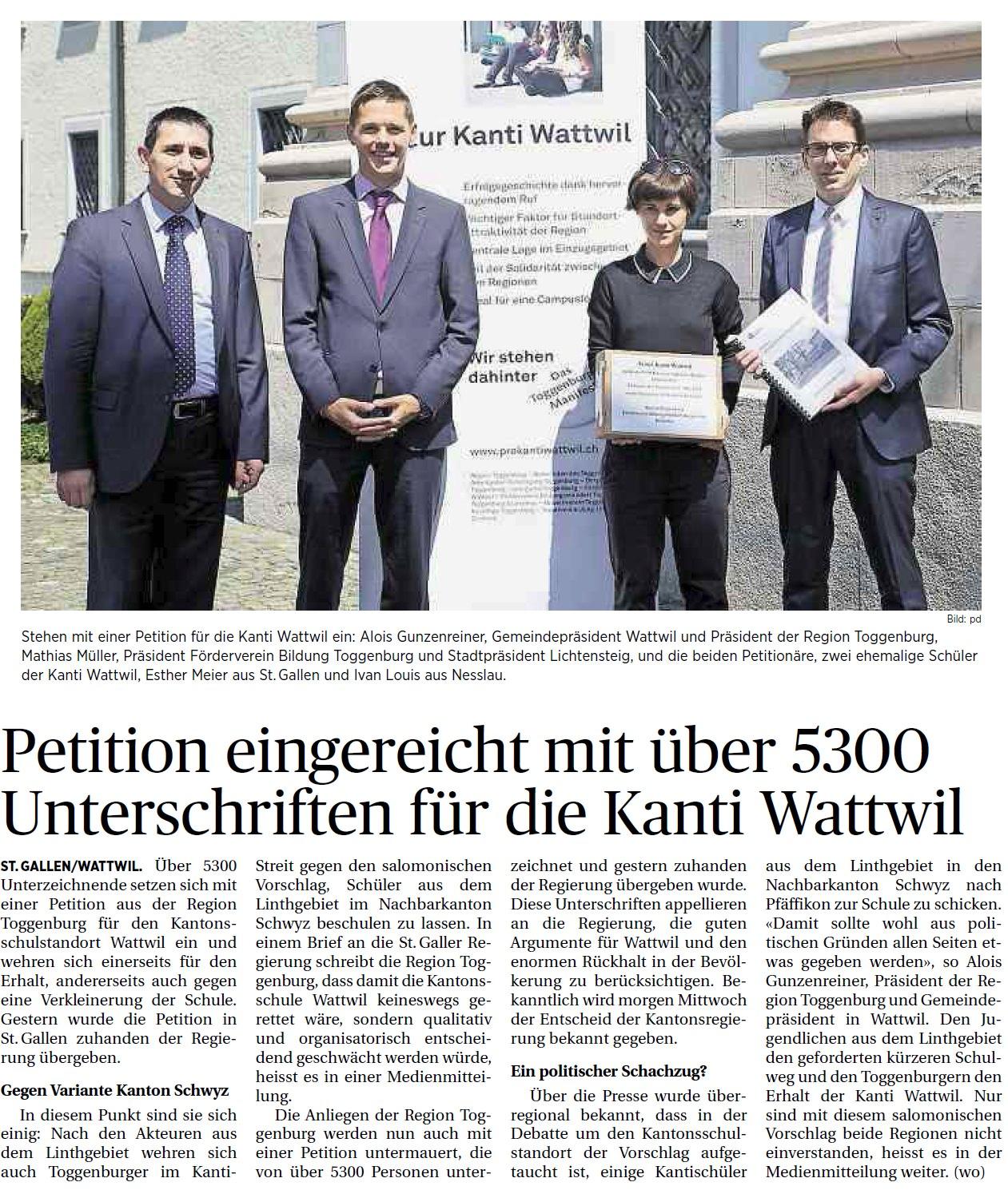 Petition eingereicht mit über 5300 Unterschriften für die Kanti Wattwil (Dienstag, 06.05.2014)