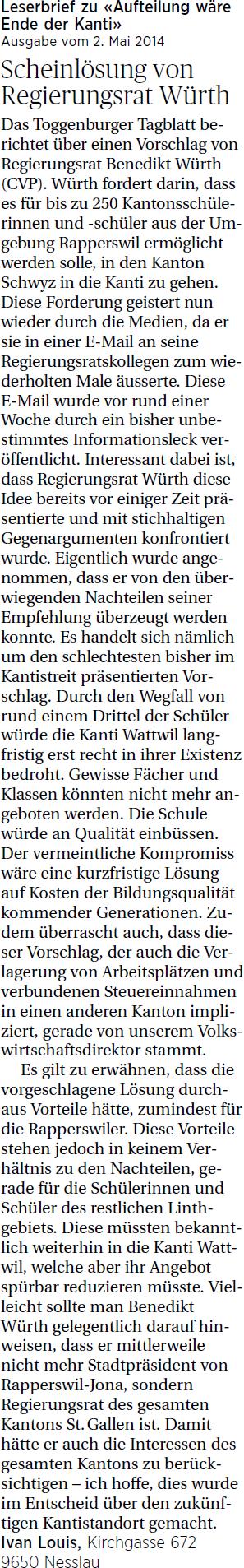 Scheinlösung von Regierungsrat Würth (Mittwoch, 07.05.2014)