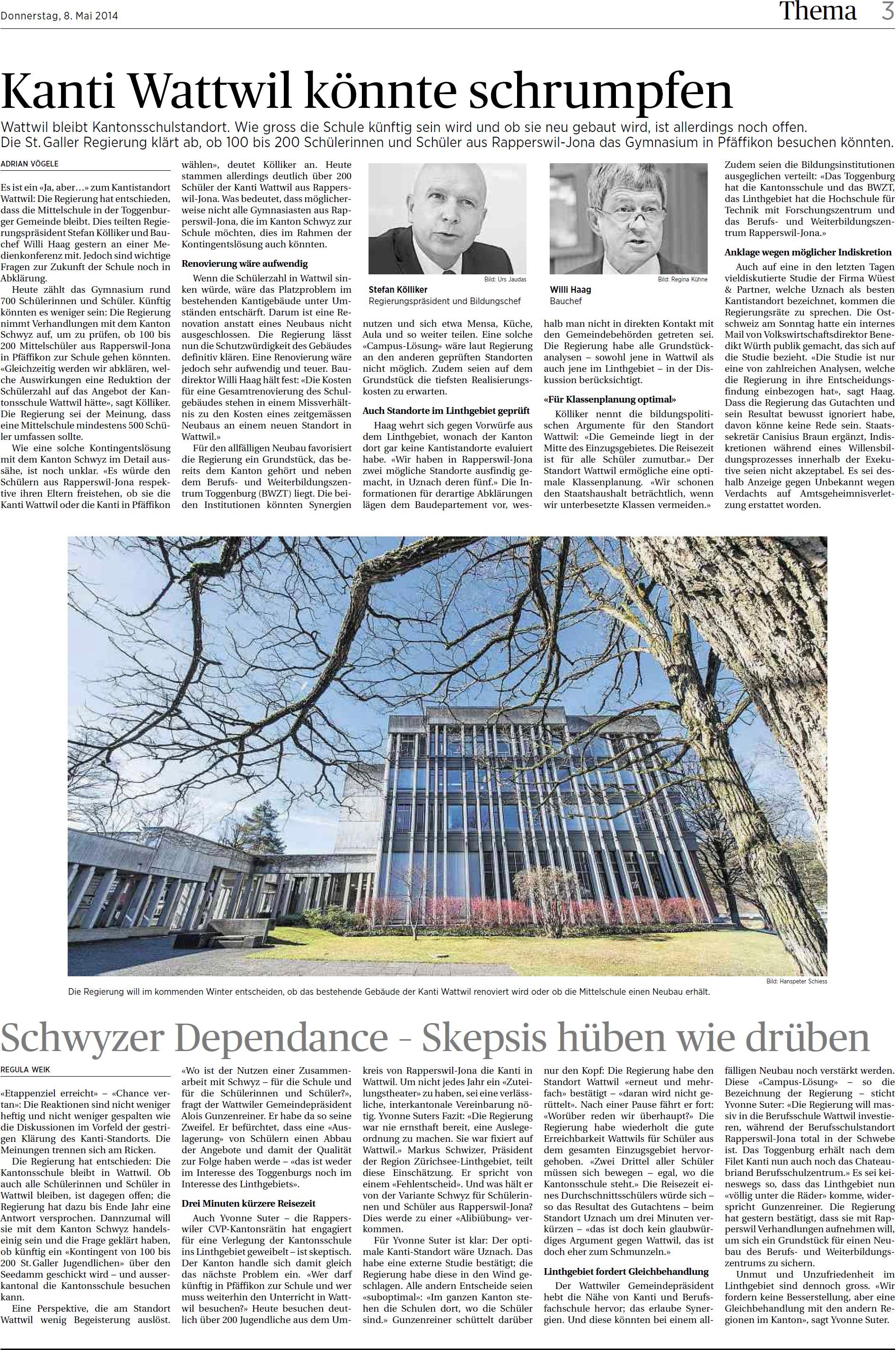 Kanti Wattwil könnte schrumpfen (Donnerstag, 08.05.2014)