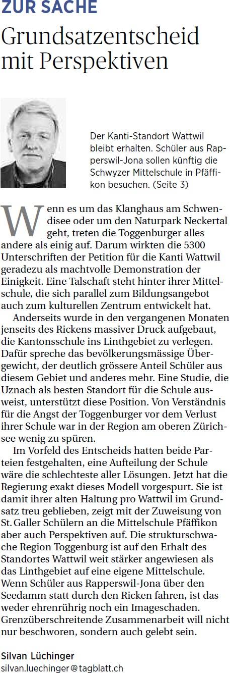 Grundsatzentscheid mit Perspektiven (Donnerstag, 08.05.2014)
