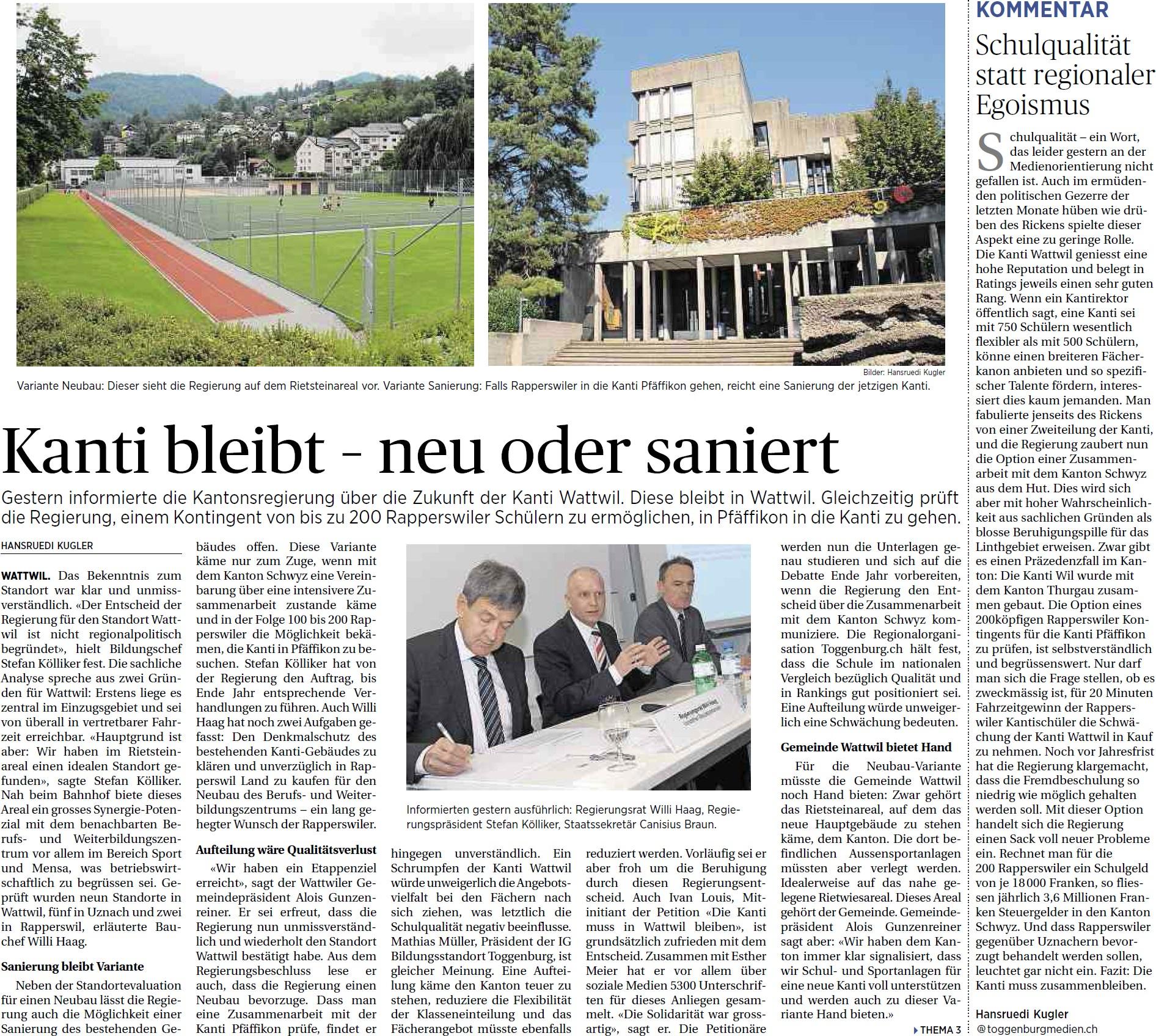 Kanti bleibt - neu oder saniert (Donnerstag, 08.05.2014)